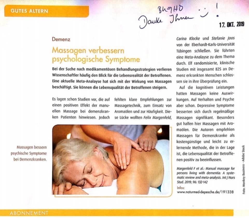 Massagen verbessern psychologische Symtome