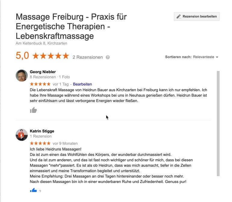 Erfahrungen mit Massagen von Heidrun Bauer aus Freiburg