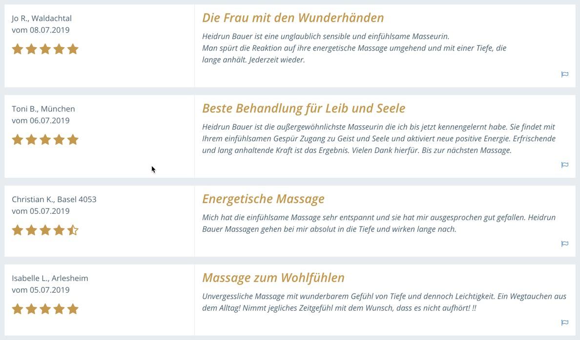 Kundenempfehlungen für Heidrun Bauer Kirchzarten